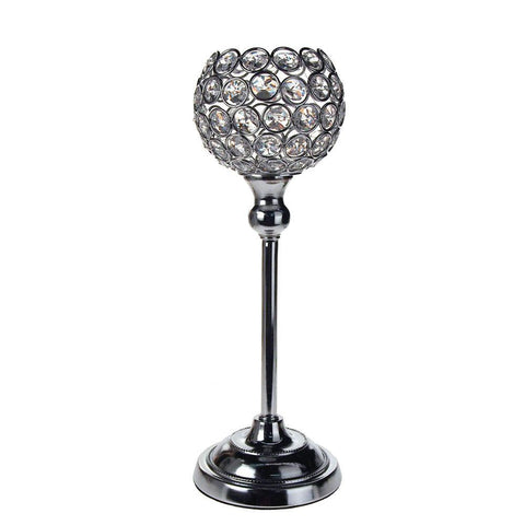 Crystal Globe Candle Holder Metal Centerpiece, Silver, 12-1/2-Inch