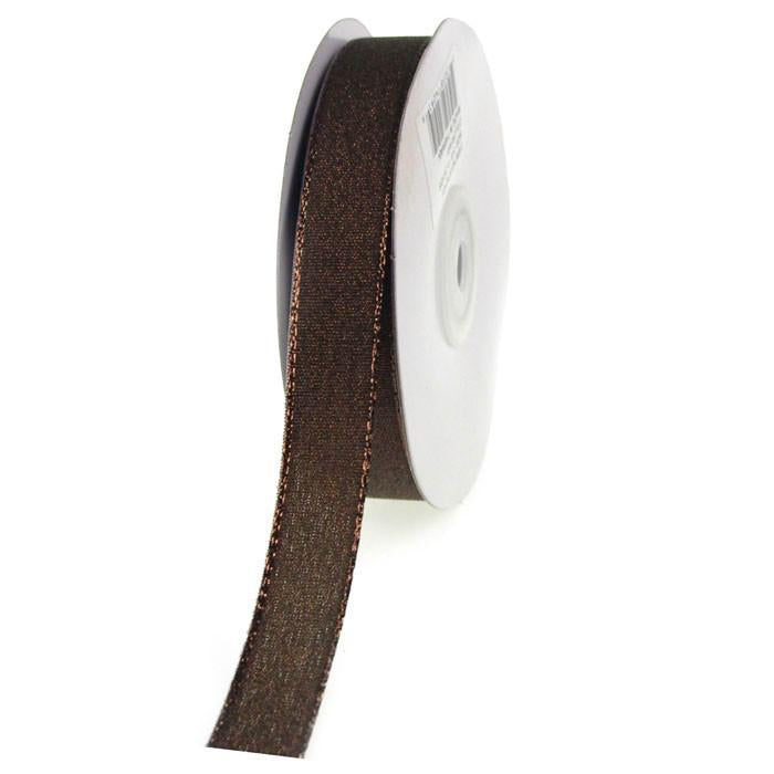 Shimmering Metallic Ribbon, 5/8-Inch, 25 Yards, Brown