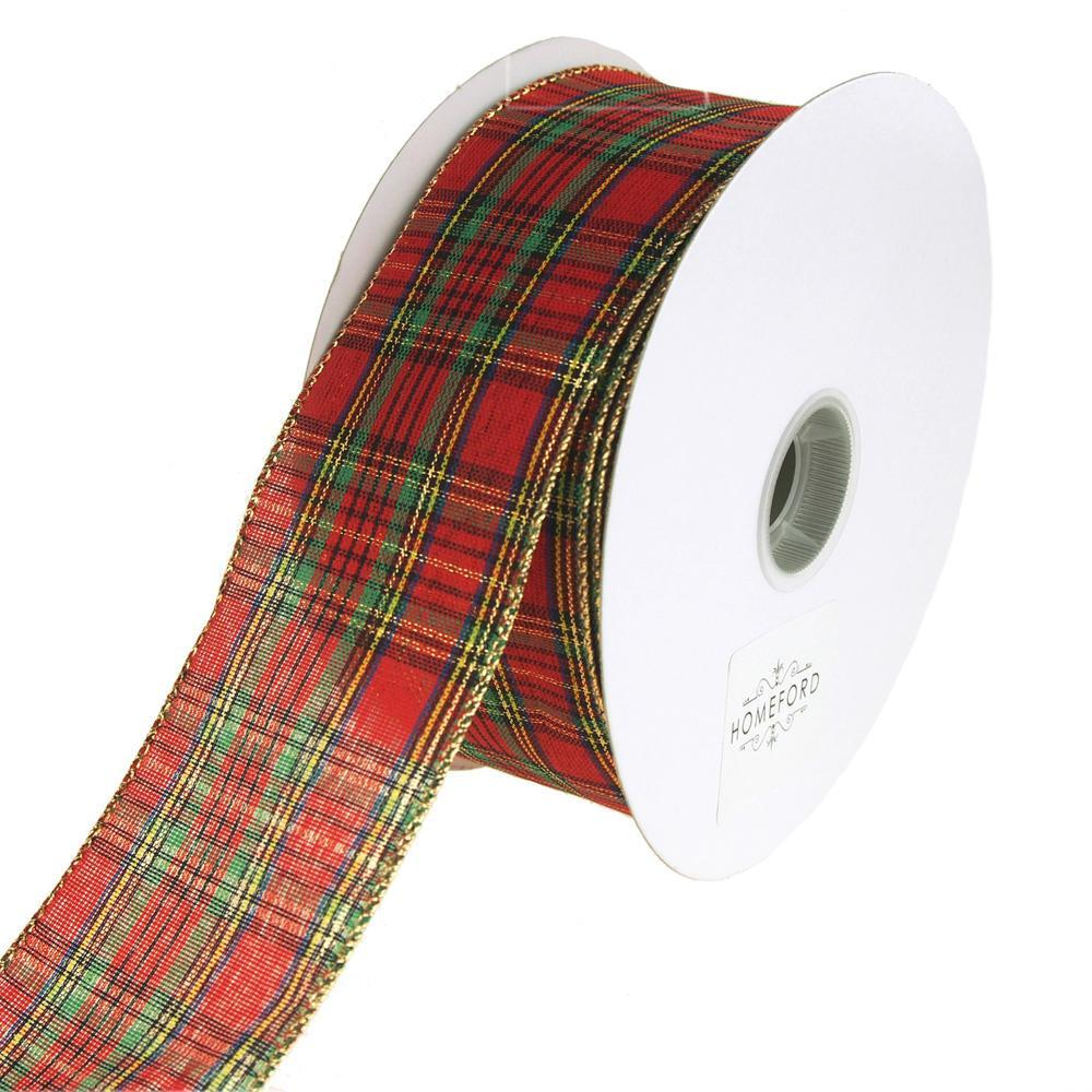 Festival Plaid Wired Christmas Holiday Ribbon, Red, 2-1/2-Inch, 50 ...