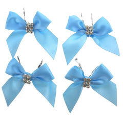 Pre-Tied Satin Bows with Rhinestone, 3-Inch, 4-Piece