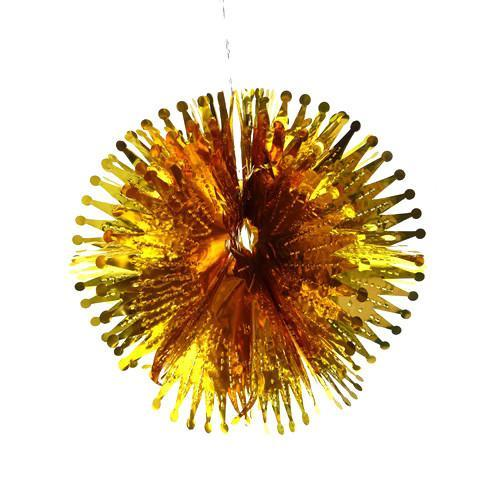 Pom Pom Metallic Foil Hanging Decor, 12-Inch, Gold