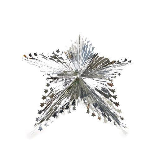 Star Metallic Foil Hanging Decor, 21-Inch, Silver