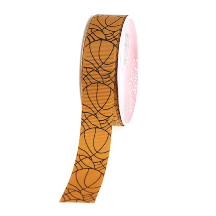 Basketball Print Grosgrain Ribbon, 7/8-Inch, 5 Yards