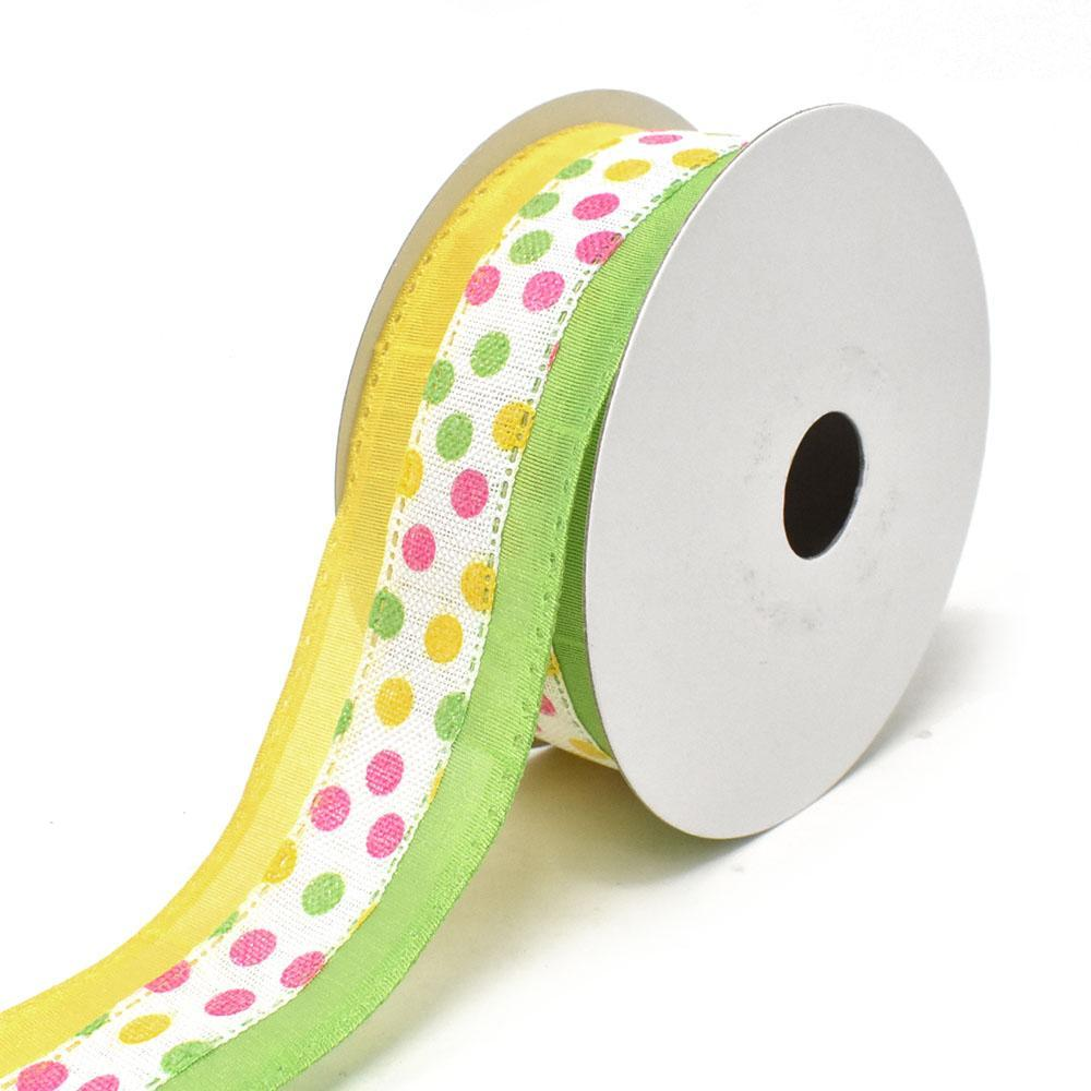 Candy Polka Dots Wired Printed Ribbon, Lime/Yellow, 1-1/2-Inch, 10-Yard