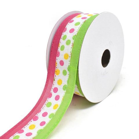 Candy Polka Dots Wired Printed Ribbon, Pink/Lime, 1-1/2-Inch, 10-Yard