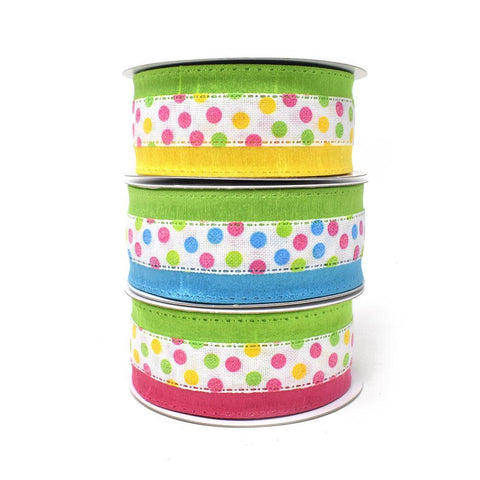 Candy Polka Dots Wired Printed Ribbon, 1-1/2-Inch, 10-Yard