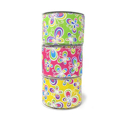 Butterflies Satin Wired Printed Ribbon, 2-1/2-Inch, 10-Yard