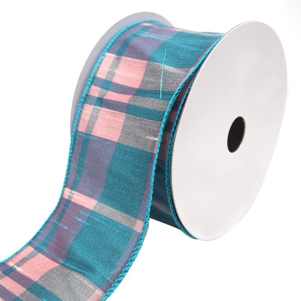 Catalina Plaid Wired Dupioni Ribbon, Turquoise, 2-1/2-Inch, 10 Yards ...