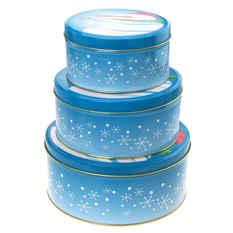 Christmas Cookie Tin Round Containers with Snowflakes/Snowman, 3 Size, Blue