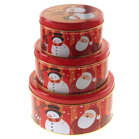 Christmas Cookie Tin Round Containers with Santa & Snowman, 3 Size, Santa, Red