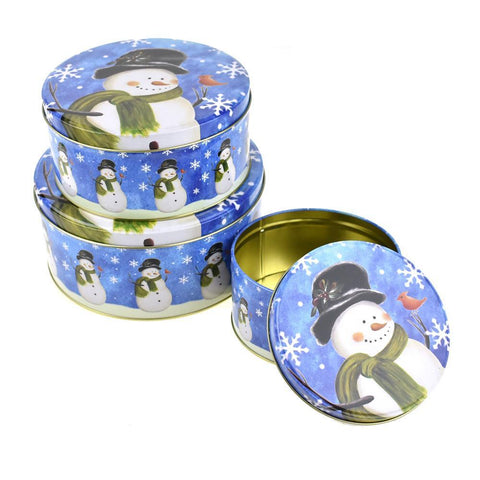 Christmas Cookie Tin Round Containers with Snowman, 3 Size, Blue