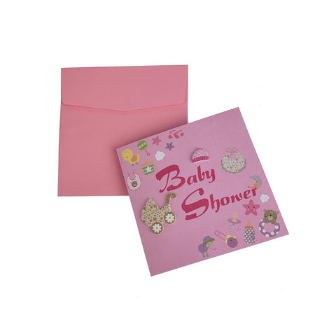 3D Baby Shower Nursery Invitations, 5-3/4-Inch, 10-Piece, Pink