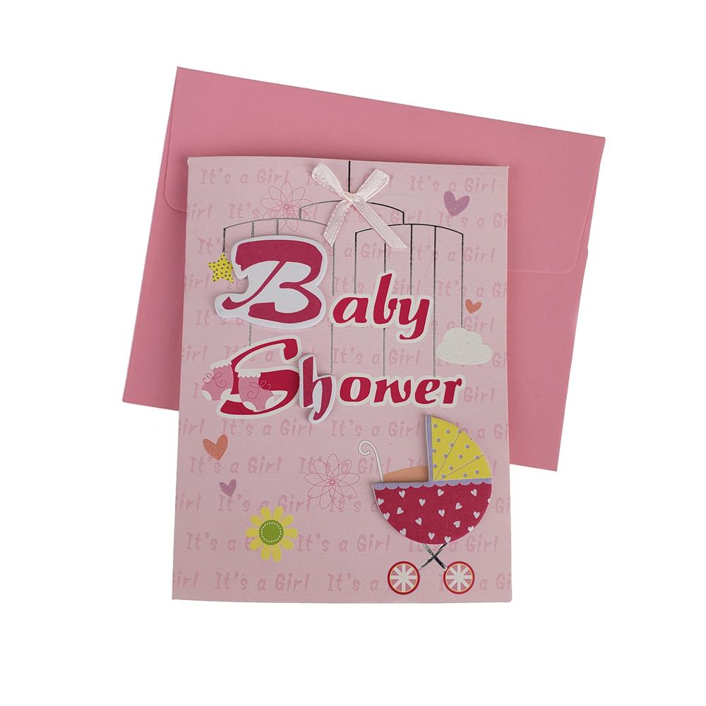 3D Baby Shower Carriage Invitations, 4-Inch, 10-Piece, Pink