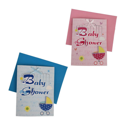 3D Baby Shower Carriage Invitations, 4-Inch, 10-Piece