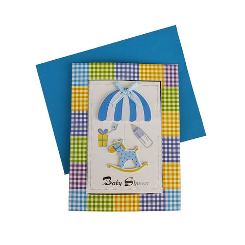 3D Baby Shower Horse Rocker Invitations, 4-Inch, 10-Piece, Blue