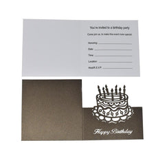 Blank Square Laser Cut Happy Birthday with Cake Invitation, Brown, 4-3/4-Inch