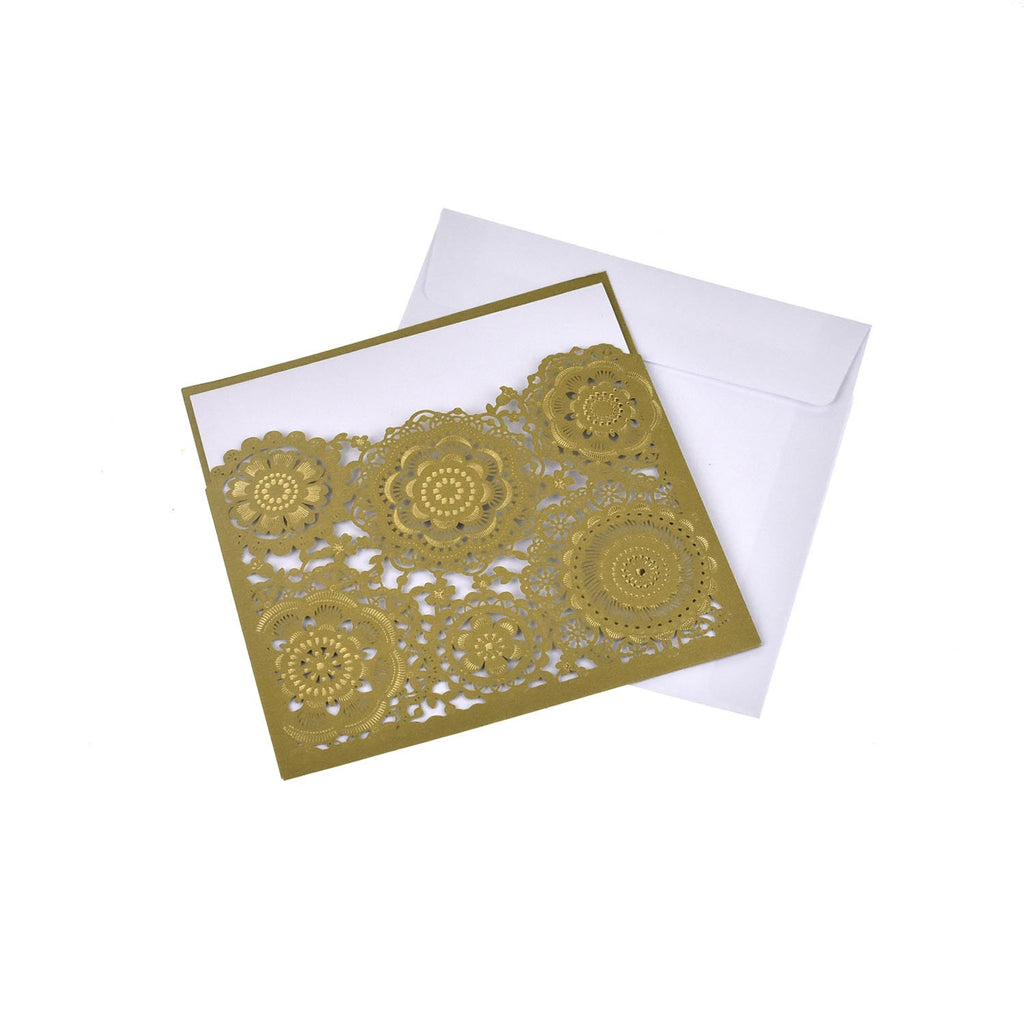 Blank Square Floral Mandala Lace Laser Cut Invitations, 6-1/4-Inch, 8-Piece