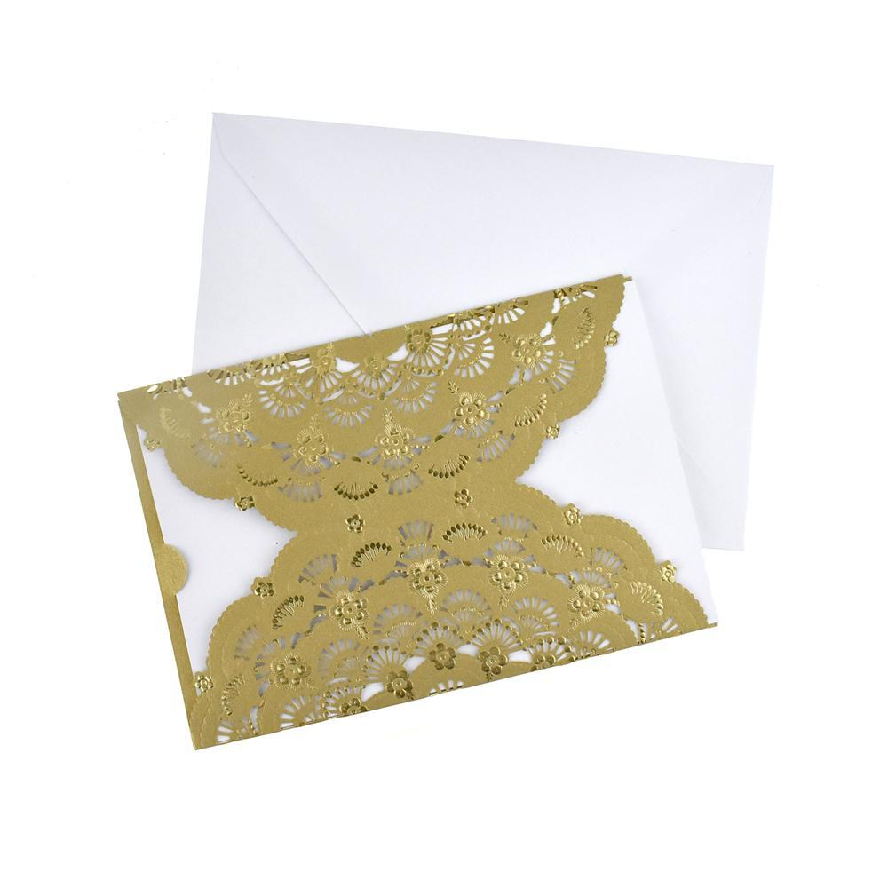 Metallic Embossed Flower Laser Cut Design Invitations, 7-1/4-Inch, 8-Piece, Gold