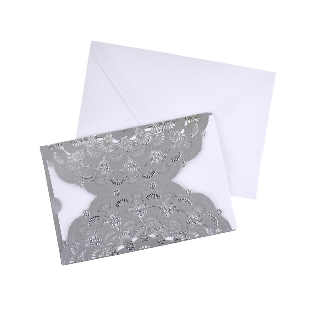 Metallic Embossed Flower Laser Cut Design Invitations, 7-1/4-Inch, 8-Piece, Silver