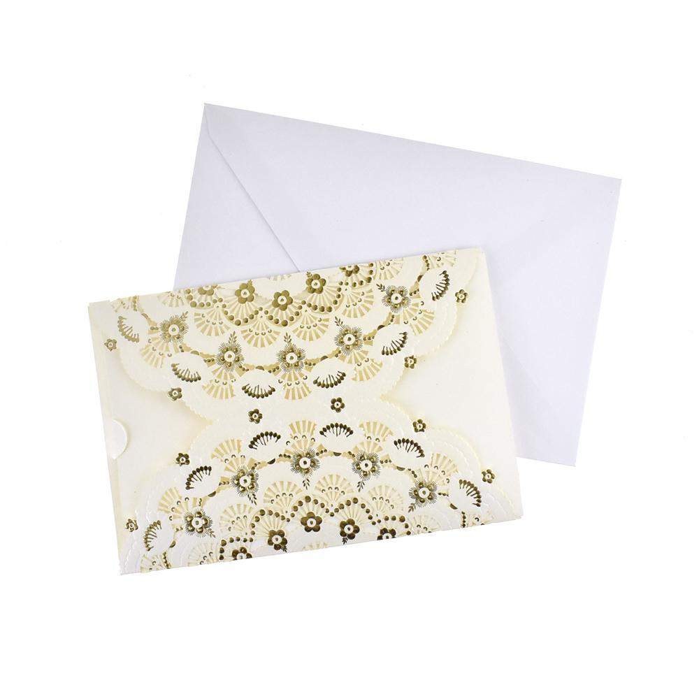 Metallic Embossed Flower Laser Cut Design Invitations, 7-1/4-Inch, 8-Piece, Ivory