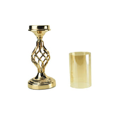 Twisted Candle Holder with Glass Cylinder Centerpiece, 16-Inch, Gold