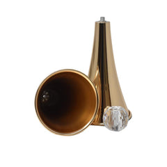 Metal Slim Waste Trumpet Vase with Diamond Accent, Gold, 17-1/2-Inch