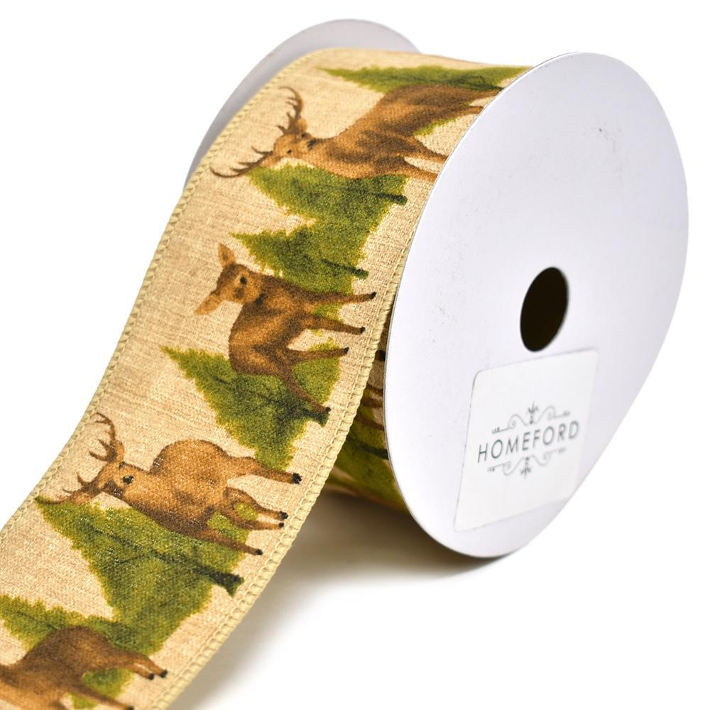 deer and trees woodlands christmas wired ribbon 2 12 inch - Christmas Wired Ribbon