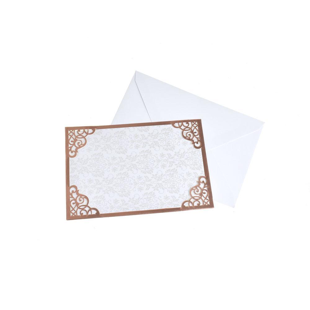 Blank Invitations Rectangle Laser Cut Design, Rose Gold, 7-1/4 Inch, 8-Piece