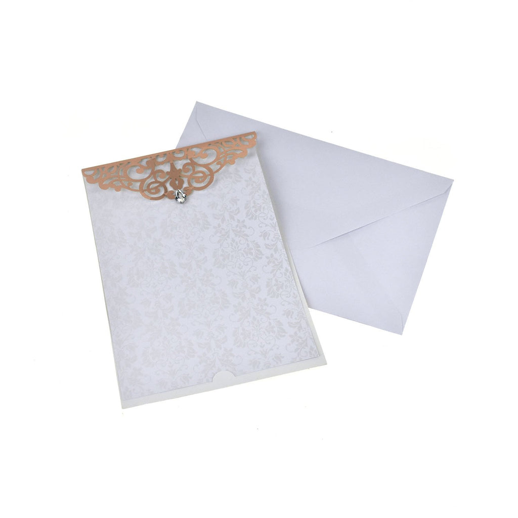 Blank Rectangular Laser Cut Lace Invitation with Rhinestone, 7-3/4-Inch, 8-Piece, Rose Gold