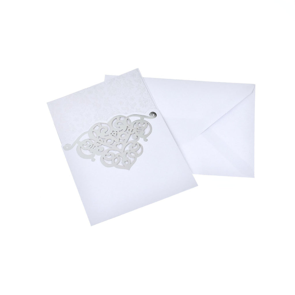 Rectangular Laser Cut Heart Design with Lace Pattern Invitation, 7-1/4-Inch, White