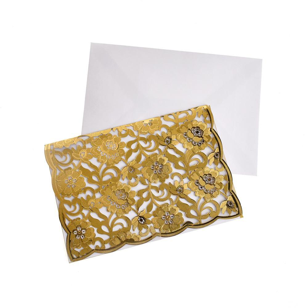 Rectangular Laser Cut Floral Imprint Blank Invitations, 7-1/4 Inch, 8-Piece, Gold