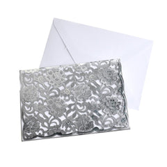 Rectangular Laser Cut Floral Imprint Blank Invitations, 7-1/4 Inch, 8-Piece, Silver