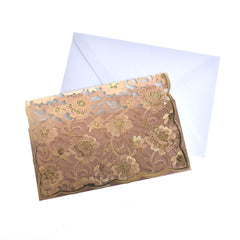 Rectangular Laser Cut Floral Imprint Blank Invitations, 7-1/4 Inch, 8-Piece