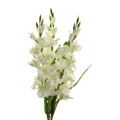 Artificial Satin Gladiolus Spring Floral Bush, Cream, 29-Inch