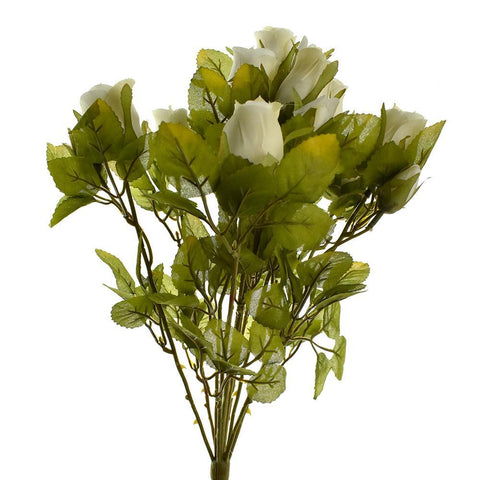 Artificial Rose Flower Bud Bush, 15-Inch, Beige