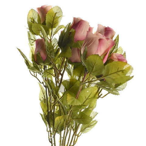 Artificial Rose Flower Bud Bush, 15-Inch, Mauve
