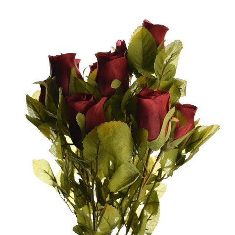 Artificial Rose Flower Bud Bush, 15-Inch, Red