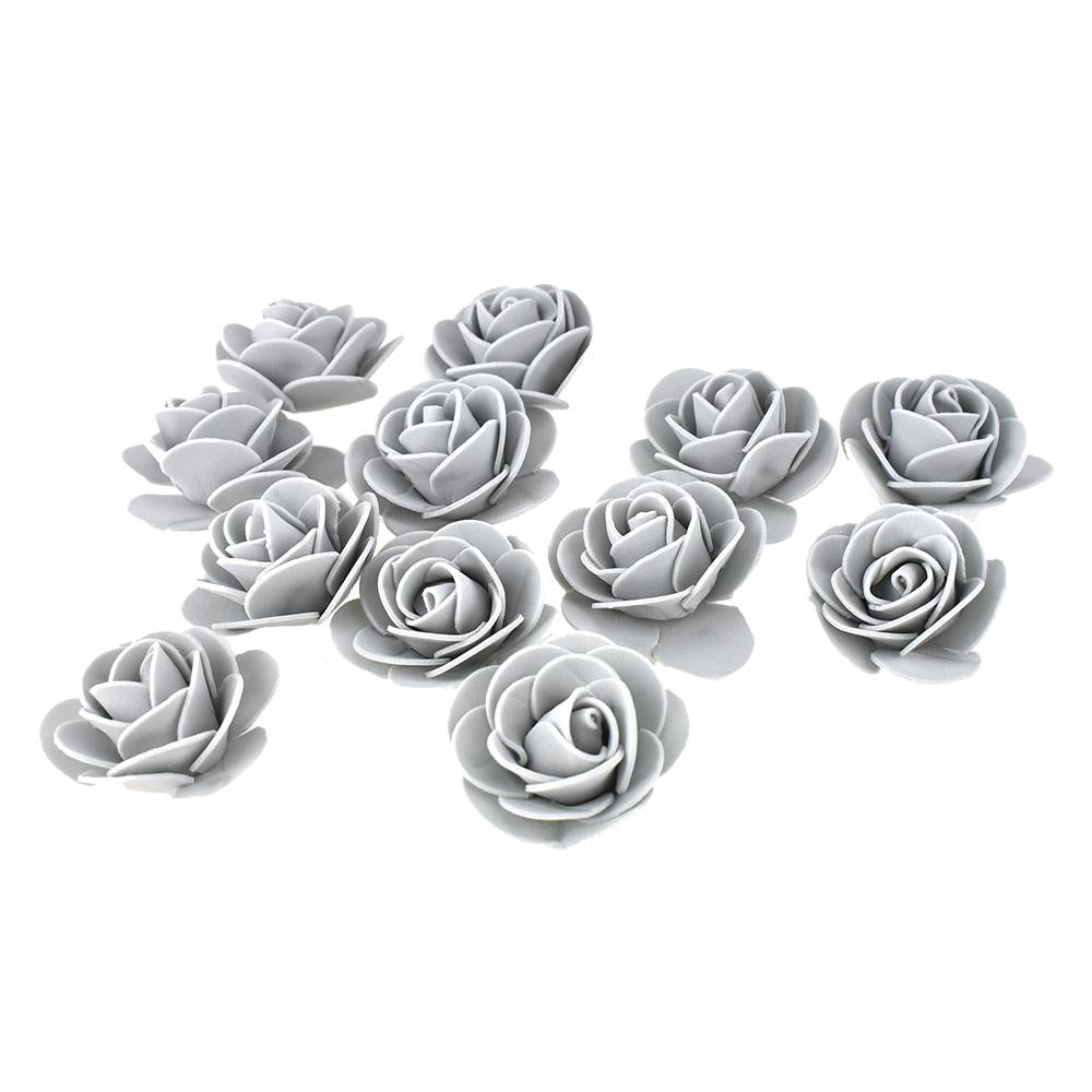 Craft Foam Roses, Silver, 1-3/4-Inch, 12-Count