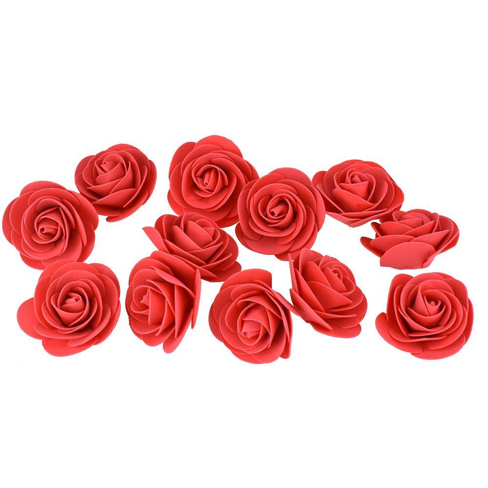 Craft Foam Roses, Red, 3-Inch, 12-Count