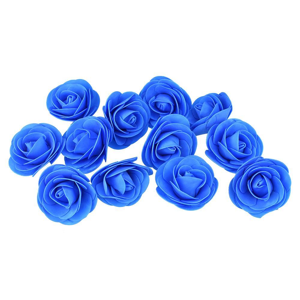 Craft Foam Roses, Turquoise, 3-Inch, 12-Count