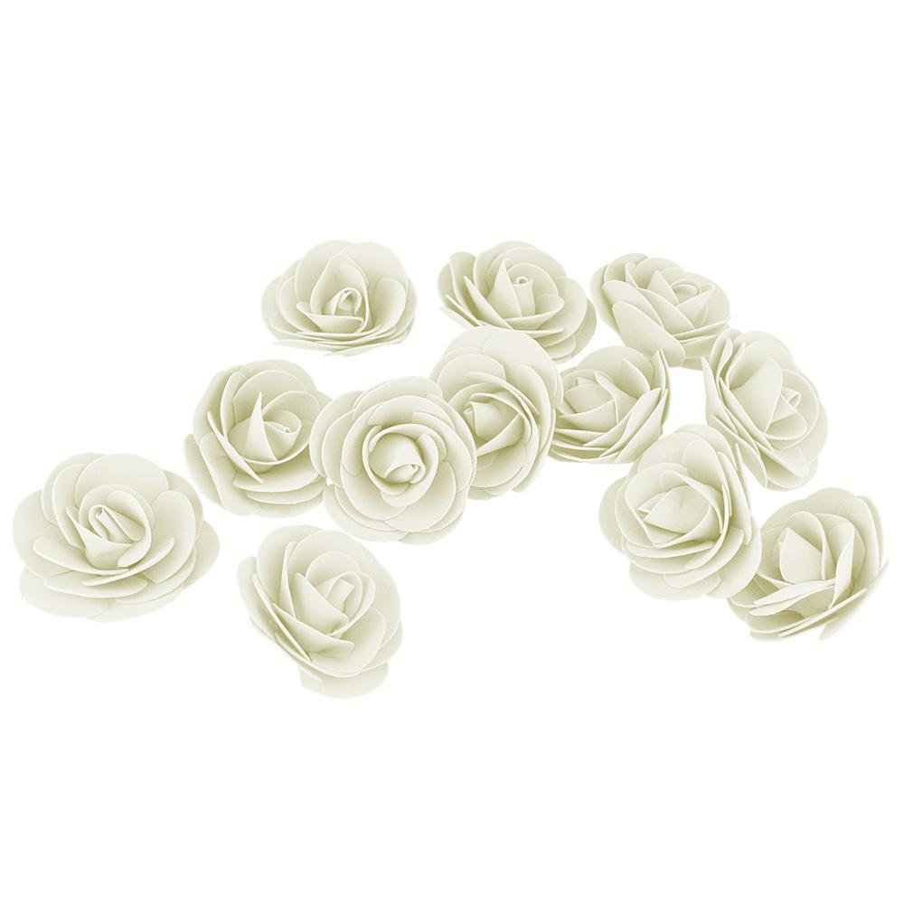 Craft Foam Roses, Ivory, 3-Inch, 12-Count