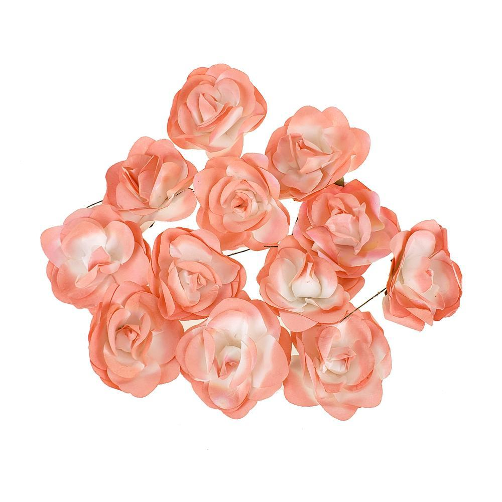 Rose Paper Flower Embellishment, 2-1/2-Inch, 12-Count, Coral