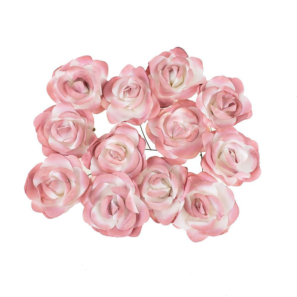 Rose Paper Flower Embellishment, 2-1/2-Inch, 12-Count, Mauve