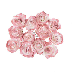 Rose Paper Flower Embellishment, 2-1/2-Inch, 12-Count
