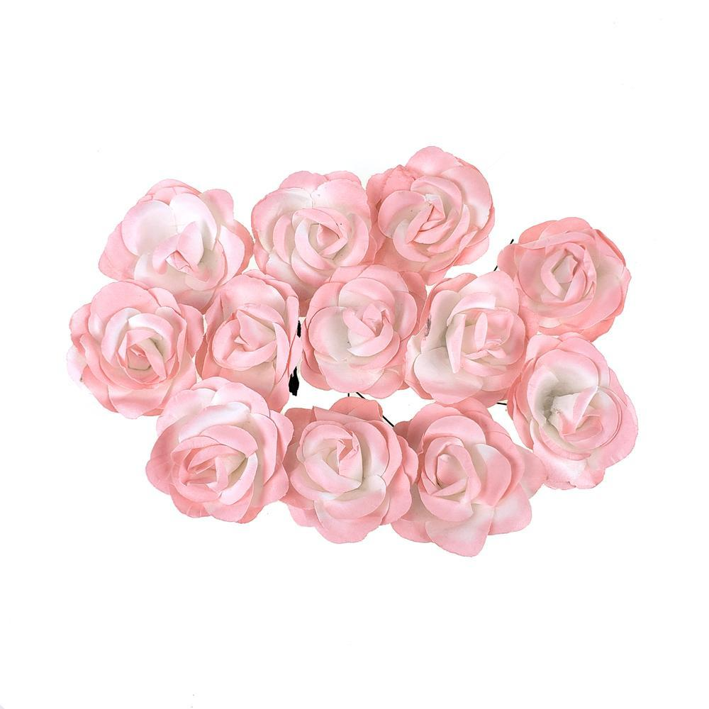 Rose Paper Flower Embellishment, 2-1/2-Inch, 12-Count, Pink