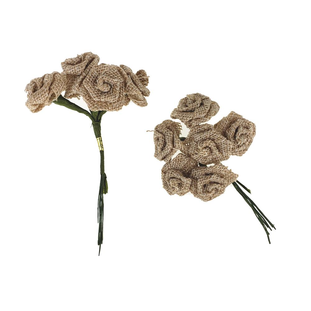 Burlap Rose Pick Small Bunch, Natural, 4-Inch, 12-Piece