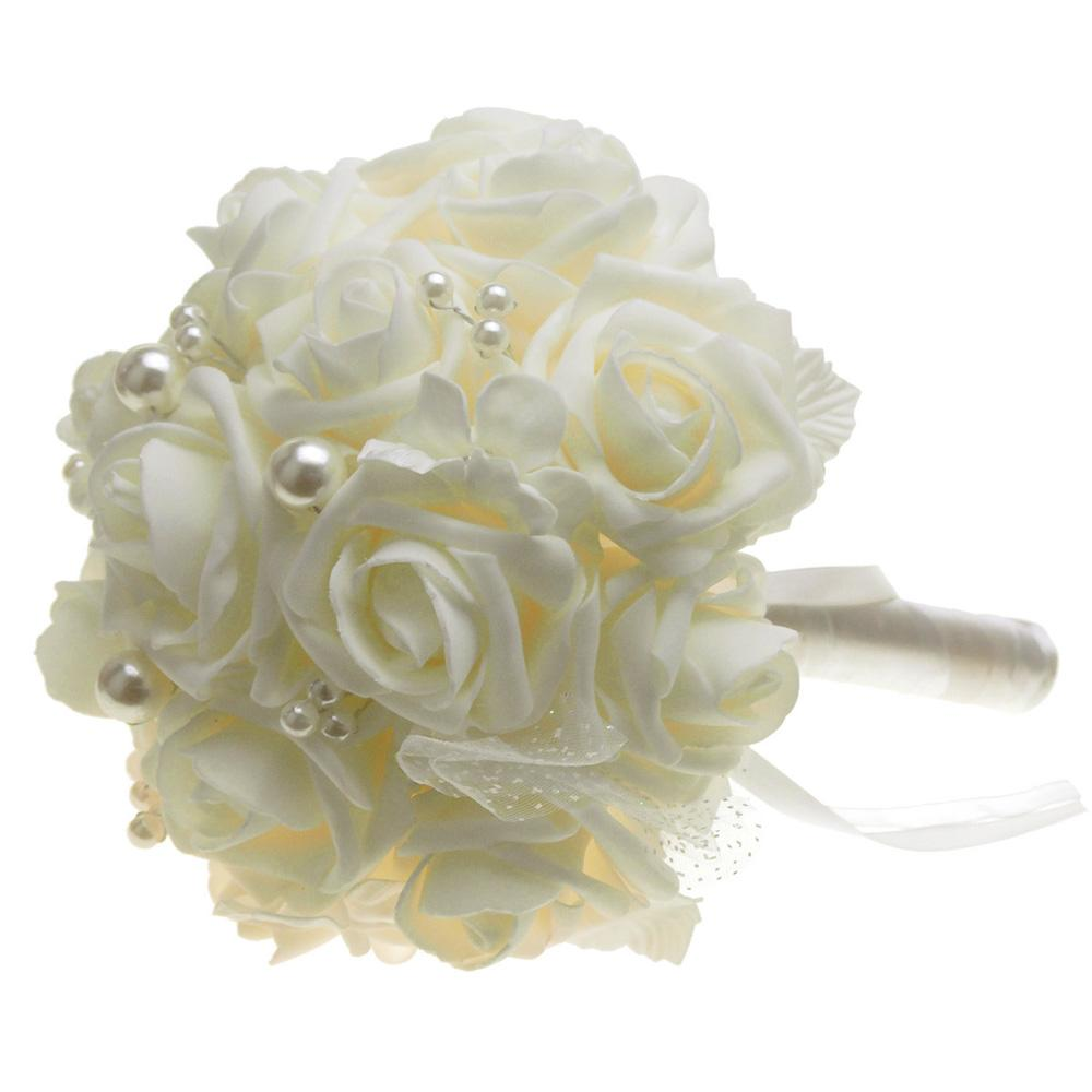 Soft Touch Rose Flower Wedding Bouquet with Pearls, 9-Inch, Ivory