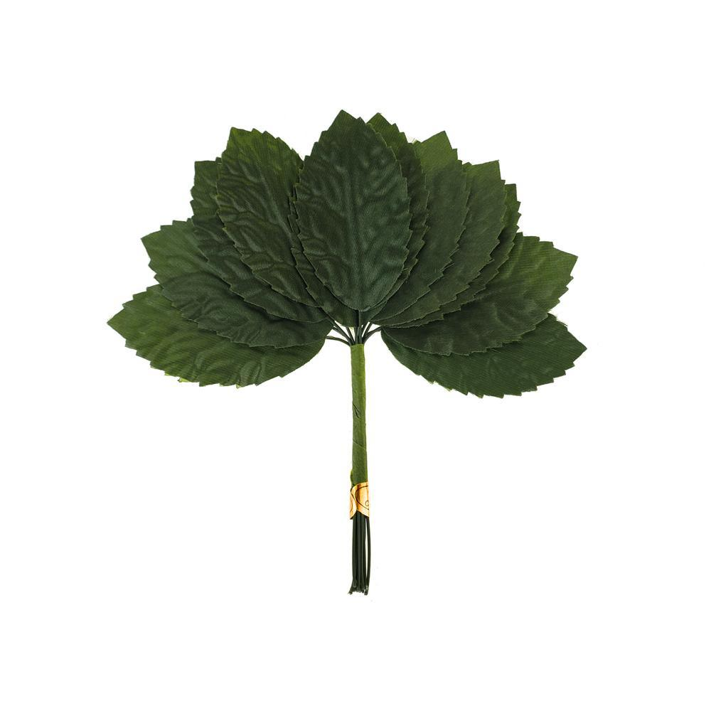 Artificial Silk Leaf Pick, Green, 5-Inch, 12-Piece