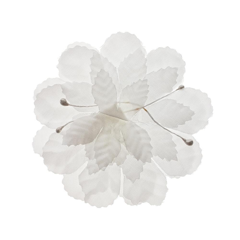 Artificial Silk Flat Carnations, 3-Inch, 12-Piece, White