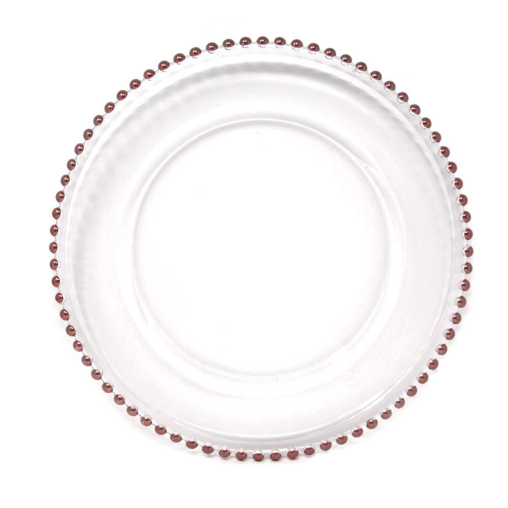 Glass Charger Plate with Rose Gold Beaded Edge, Clear, 12-1/2-Inch, 1-Count